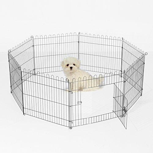 pawhut-recinto-per-cani-gatti-cuccioli-roditori-recinzione-rete-gabbia-8-pezzi-122-x-61cm-nero