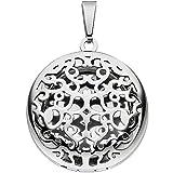 Amulett zum Öffnen Medaillon Anhänger für Fotos Ornament-Muster Edelstahl rund
