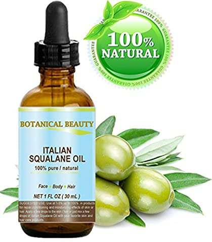 SQUALANE Italian. 100% Pure / Natural / Undiluted Oil. 100% Ultra-Pure Moisturizer for Face , Body & Hair. Reliable 24/7 skincare protection. 1 fl.oz- 30 ml. by Botanical Beauty.