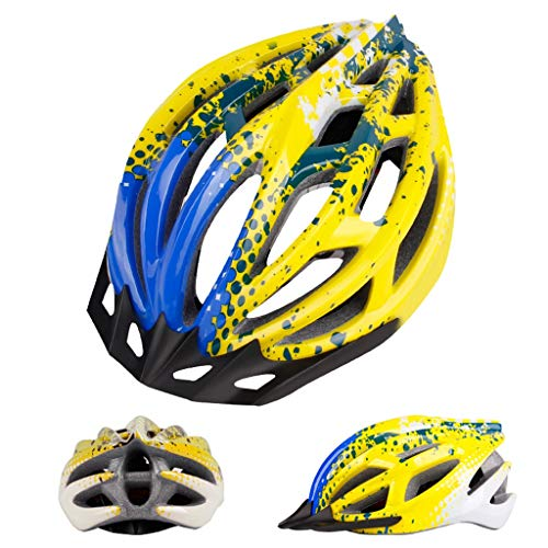 JIE KE Fahrradhelm Integrierter Fahrradhelm Mountainbike Helm Männer Und Frauen Helm Helm Hohe Dichte EPS (Farbe : Spots Yellow Blue)
