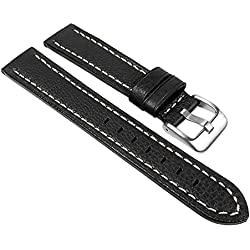 Eulit Zeppelin Replacement Band Watch Band bovine Leather Strap black leather 831_10S, width:18mm
