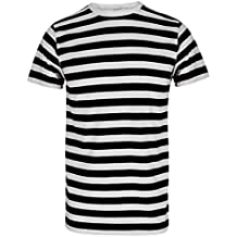 07a15762cd39c7 Herren Jungen Streifen rot   weiß gestreift T-Shirt Blau Schwarz Streifen  Top ...