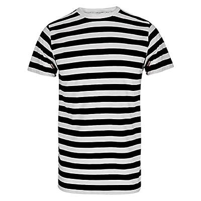 TrendyFashion - Camiseta - Rayas - Cuello redondo - Manga corta - para hombre Black/White Stripe T-Shirt large