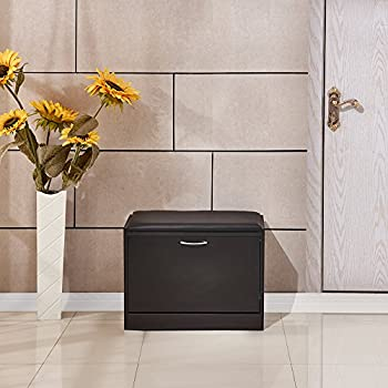 willstone wooden shoe cabinet with pu cushion shoe storage rack ottoman bench closet for entryway black