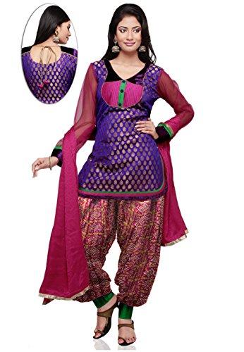 Utsav Fashion Chanderi Brocade Punjabi Suit in Purple Colour
