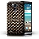 Personnalisé Motif Fibre Carbone Coque pour LG G3/D850/D855 / Timbre d'Or Design / Initiales/Nom/Texte Etui/Housse/Case