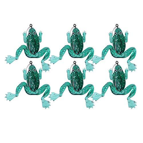 Rosvola Frosch Form Angelköder, mit Haken Angelgerät, 6 Teile/Satz Künstliche Bionic Silikon Weichen Köder Set für Süßwasser Salzwasser Bass Forelle Lachs(Cyan) -