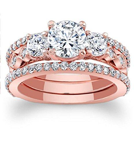 Gowe 1CT moissanites Brautschmuck Sets 14K Rose Gold Verlobungsring Drei Stein Lab gewachsen Diamant Drei Diamant-verlobungsring