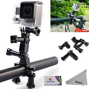 DEYARD Motorcycle Bike Handlebar Seatpost Pole Mount + Three-way Adjustable Pivot Arm + Thumbscrew for GoPro HD Hero 4 Session Hero 4 3+ 3 2 1 Camera