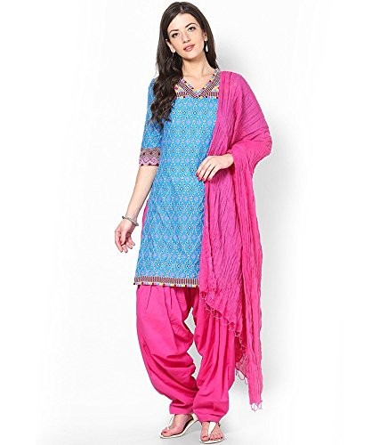 Shiva Collections Women\'s Cotton Patiala Salwar with Dupatta (scs1038_Pink_Free Size)