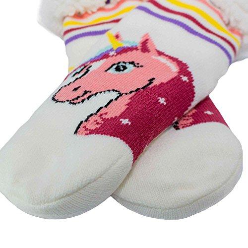 Preisvergleich Produktbild MR Goods® Einhorn Hüttensocken – Extra warme und gefütterte ABS Socken mit Sohle für kalte Wintertage – Rutschfeste Wintersocken passend zu Einhorn Hausschuhen – Perfekt als Weihnachtsgeschenk