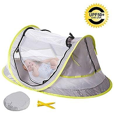 Cama de viaje portátil para bebé, tienda de playa con 2 estacas plegables para bebé, mosquitera.