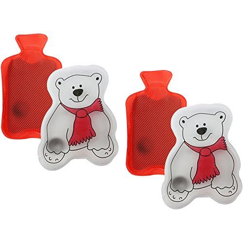 Produktbild com-four® 4er Set Taschenwärmer mit 2 Motiven,  zum wärmen der Hände (Wärmflasche / Eisbär)