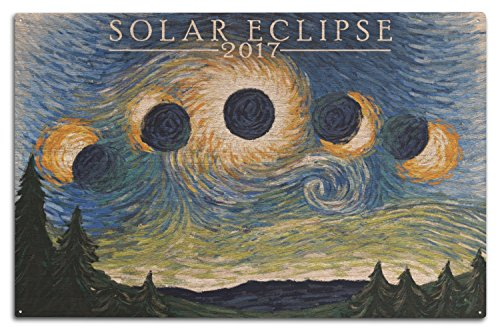 Solar Eclipse 2017–Starry Night, holz, mehrfarbig, 10 x 15 Wood Sign Solar Eclipse-poster