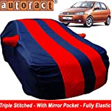 Autofact Car Body Cover for Fiat Palio (Mirror Pocket , Premium Fabric , Triple Stiched , Fully Elastic , Red / Blue Color)