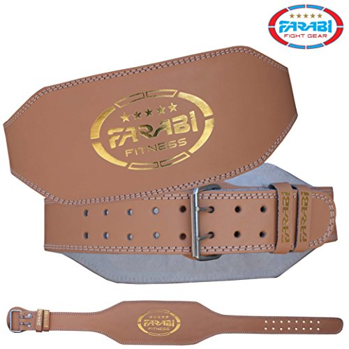 Farabi Best 6? Leather Weight Lifting belt for extreme powerlifting weightlifting workout gym training deadlift back Lumbar support cardio belt and back injury protector (Brown, Large/X-Large)