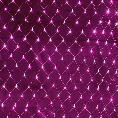 FAPROL Vorhang Lichternetz, Fee Christmas Licht Außen Baum Rasen Wandleuchte Mit 8 Lichteffekten Low Voltage Lichterketten Pink 3x2m