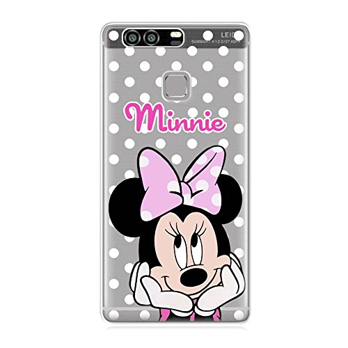 SLIDE P9 TPU Funda Gel Transparente Carcasa Case Bumper de Impactos y Anti-Arañazos Espalda Cover, Cartoon, Dibujos Animados, Disney Special Colección Collection, Minnie Mouse Lunar, Huawei P9