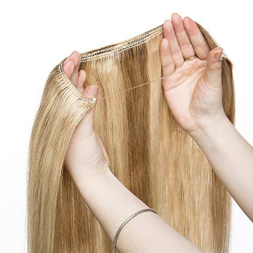 Extension Cheveux à Fil Invisible - 100% Cheveux Humain Naturel Sans Clips #12+613 Marron clair Méché Blond très clair - 22'/55cm