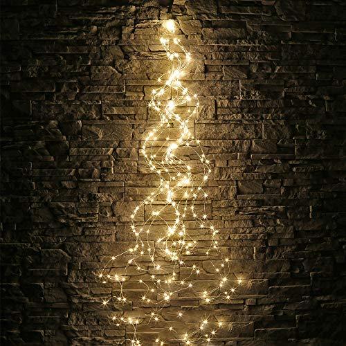 Solarbetriebene Filial-Färenlichter, 10 Strands 200 Leds wasserdichte Timbo String Lights Wasserfall Dekorative Silberdraht-Solarleuchten für Outdoor, Garten, Party, Hochzeit (Lichter Wasserfall Weihnachten)