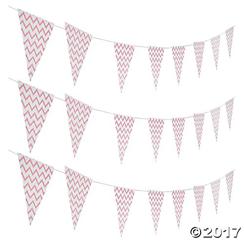 (Light Pink Chevron Pennant Banner)