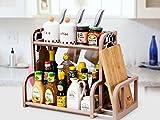 SYGA 2 Layer Brown Storage Shelf With 2-Height Adjustable Platform and 4-Side Hooks, Storage Rack Kitchen Cabinet Organizer