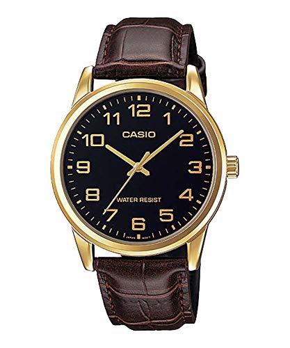 Casio Men\'s Brown Leather Strap Watch, Black Dial, MTP-V001GL-1B