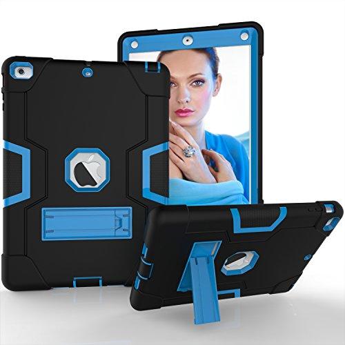 iPad Air Hülle, Dteck [Kippständer] Stoßfest [Corner / Bumper Schutz] [Grip] Rugged Hybrid Stoßdämpfend Schwerlast Schutzhülle für Apple iPad Air 1st Generation A1474/ A1475/ A1476, Schwarz & Blau