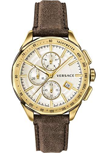 Versace VEBJ00418 - Reloj de Cuarzo para Hombre, cronógrafo Suizo, Correa de Piel marrón, Color Dorado