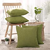 Deconovo Leinen Optik Kissenhülle Kissenbezüge Sofa Dekokissen Cushion Cover 40x40 cm Grün 4er Set