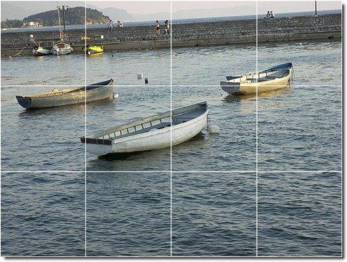 NAVES BARCOS FOTO MURAL BACKSPLASH AZULEJO 16  12 75X 43 18CM CON (12) 4 25X 4 25AZULEJOS DE CERAMICA