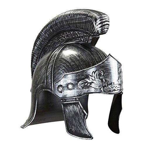 Herren Kostüm Gladiator - Amakando Römerhelm Kaiser Cäsar Königshelm Silber Gladiatorenhelm Römischer Helm Kostüm Accessoires Herren Karneval Ritterhelm Antike Kopfbedeckung Gladiator