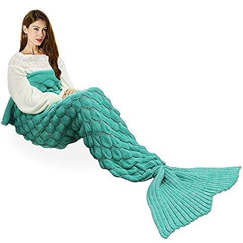 Couverture pour adulte en forme de queue de sirène tricotée à la main - toutes saisons - Couette chaude idéale pour un canapé, Acrylique, Green, 77.8