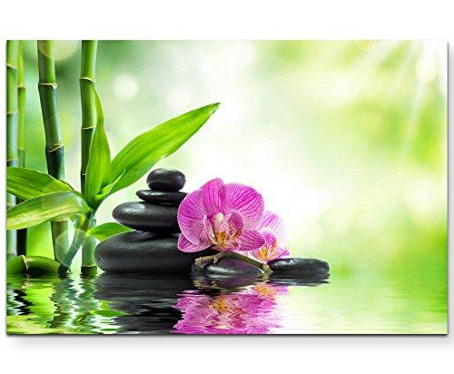 Paul Sinus Art Leinwandbilder   Bilder Leinwand 120x80cm Pinke Orchideen Schwarze Steine und Bambus auf Dem Wasser Steine Portfolio