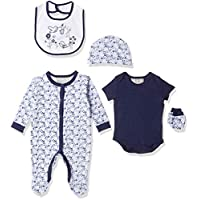 Rock-A-Bye Baby Girls 5 Pieces Multipack Navy Bird Garden Baby Clothes, Blue (Navy), Newborn