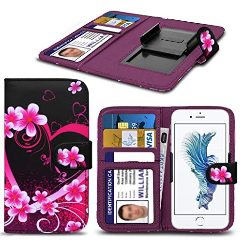 Panasonic Toughpad Fz- F1 HŸlleBrieftaschen-Etui Pouch PU Leather [Love Hearts] PRINTED DESIGN HŸlleDesign Spring Clamp [Clip on] Adjustable Book Style Flip Skin HandyhŸlle by i-Tronixs¬