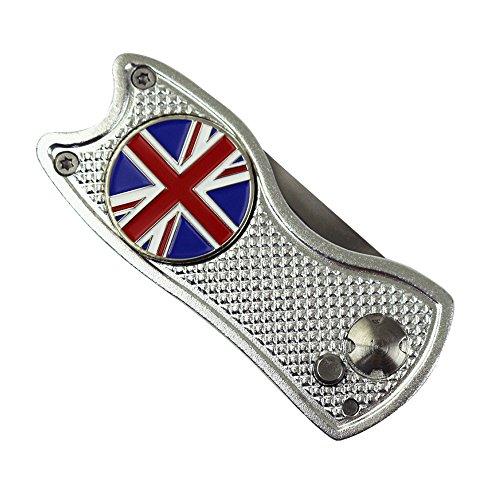 PINMEI, segnapalline da golf con coltello a scatto, modello con bandiera del Regno Unito, per segno della pallina e riparazione, Silver