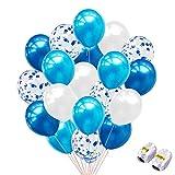 iZoeL Party Luftballon 40Stck Blau Konfetti Ballons Geburtstag Hochzeit Dekoration für Helium Luft