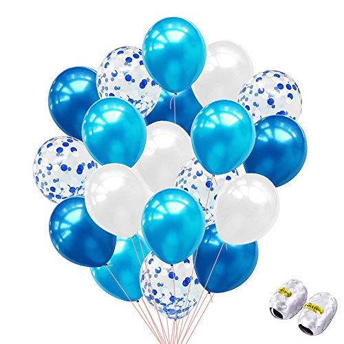iZoeL Konfetti Ballons Blau Weiß Party Luftballon 40Stck Heliumballons für Hochzeit Geburtstag Baby Dusche Kindergeburt Dekoration