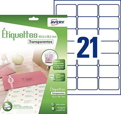 AVERY - Pochette de 126 étiquettes transparentes autocollantes, Personnalisables et imprimables, Format 63,5 x 38,1 mm, Impression jet d'encre,