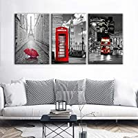 FCXBQ Canvas Hd Printing Paintings 3 Round Eiffel Tower Car Red Umbrella Photo Phone Case Red Poster Home Decor Wall Art