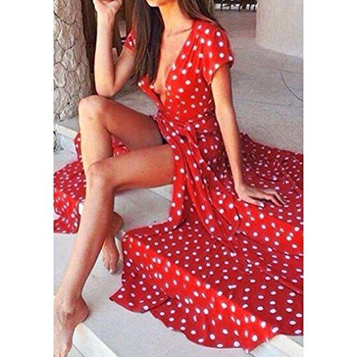 FEITONG Frauen Sommer Boho Abend Party Cocktailkleid Strand Maxi Kleid Rot