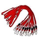 Homyl 10er Set Lanyard Schlüsselband Schlüsselbänder Band Umhängeband mit Kunststoff Karabinerverschluss für ID Badge Holder - Rot