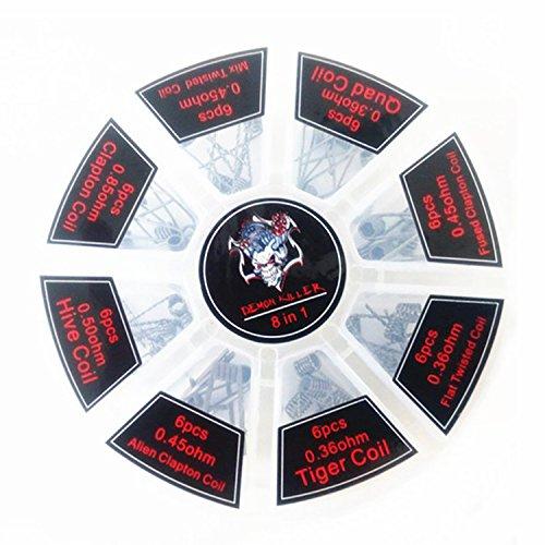 Killer Box (Demon Killer vorkompilierte Coil Kit 8 in 1 Quad Hive Twisted flach verschweißt Clapton-Coil tischrockhalter ein Box 0.36ohm 0.4ohm 0.45ohm 0.5ohm 0.85ohm 48 PCS)