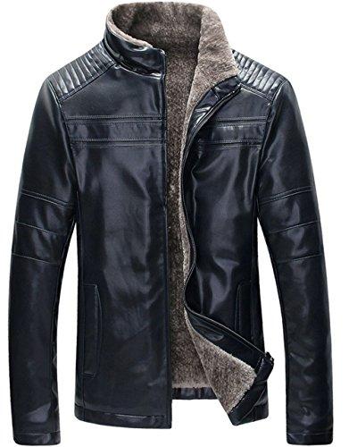 WS668 Herren Winter Warm Leder Mantel Lämmer Wolle Gefüttert Fashion Stehkragen Motorrad Jacken (EU/ED Medium, Schwarz)
