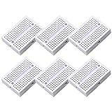 Electrely 6Pezzi Mini Breadboard, 170 Tie-punti Piccola Sperimentale Breadboard per Arduino Uno Mega 2560 (Bianco)