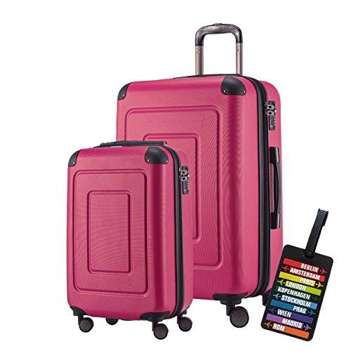 Happy Trolley Koffer-Set Hartschalen-Koffer Lugano, 20`+24`Zoll, 44L+78L +1xKofferanhänger, Pink