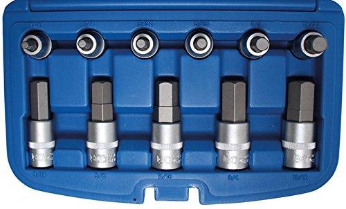BGS 5053 Bit-Einsatz-Set, Innen-6-kant, 12,5 (1/2), 12-TLG. Zollgrößen 7/32-7/8