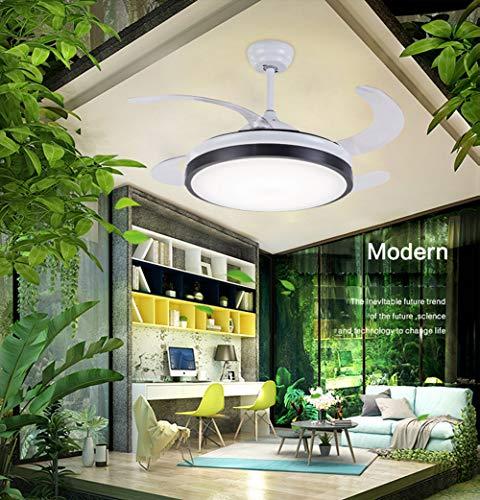 LAMP-XUE Regulables de 42 Pulgadas Ventiladores de Techo Invisible Invisible llevó la luz del Ventilador...
