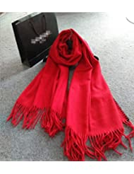 Mujeres moda clásica de gran tamaño espesado mantón de la bufanda de manta de abrigo con borlas acogedor imitación Cachemira 200 * 70cm , red